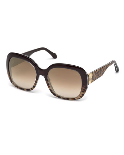 Cecina Gradient Square Leopard-Print Sunglasses, Brown