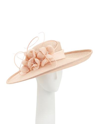 Sidesweep Hat w/ Flower Quill, Light Orange