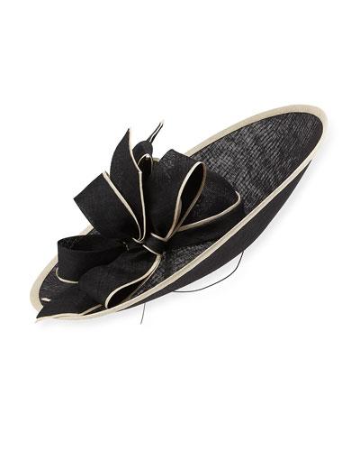 Piped Sinamay Sidesweep Hat, Black/White