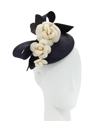 Straw Pillbox Hat w/ Camellias, Navy