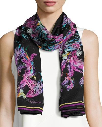 Silk Jacquard Feather Scarf, Black
