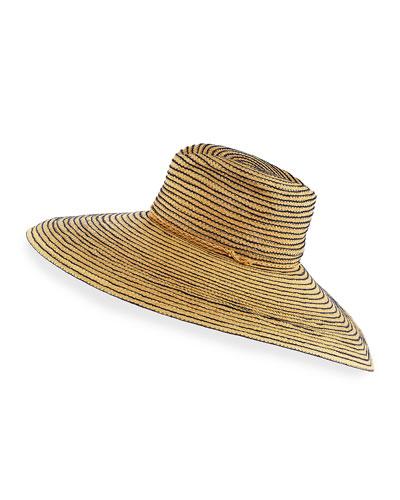 Raffia Wide-Brim Sun Hat, Navy/Neutral