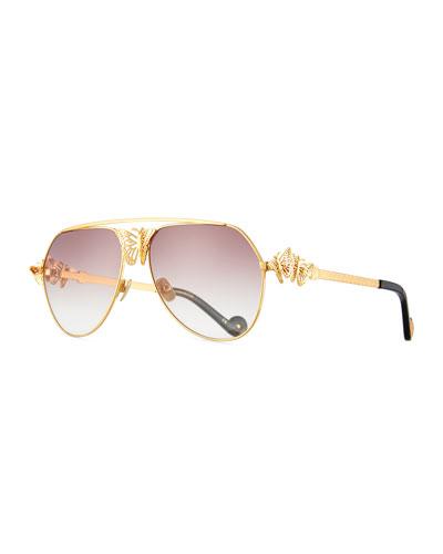 Miss Rosell Butterfly Aviator Sunglasses, 24k Gold Plate