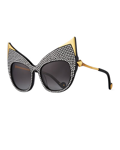 Billion Dollar Babes Swarovski® Ultra Cat-Eye Sunglasses, Black/Gold