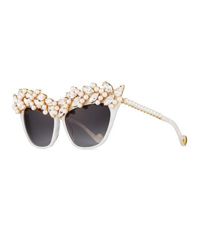 Tears of the Moon Cat-Eye Sunglasses, Pearl