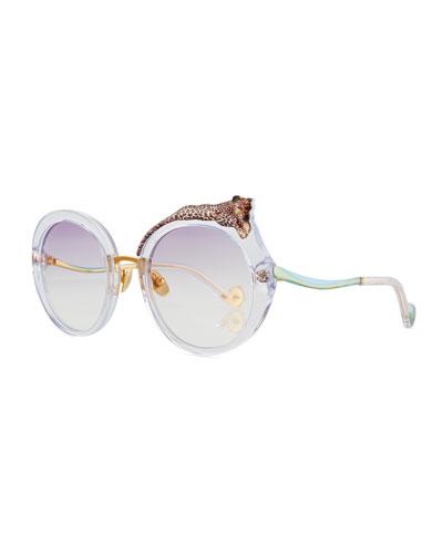Rose et la Roue Round Sunglasses, Clear
