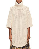Oversized Chunky Open-Knit Turtleneck Poncho, Beige