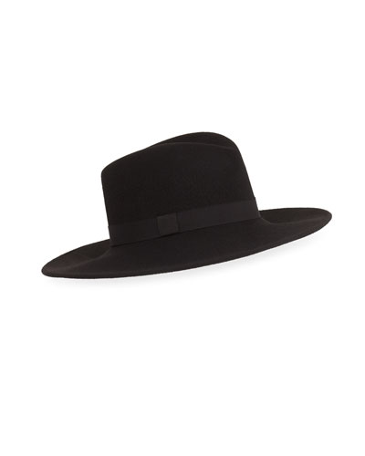 Dita Brilliant Wool Fedora, Black