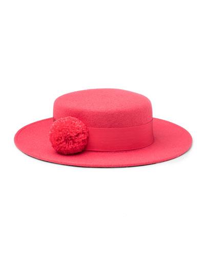 Brigitte Wool Felt Boater Hat, Pink