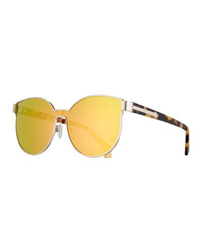 Star Sailor Mirrored Sunglasses, Yellow/Crazy Tortoise