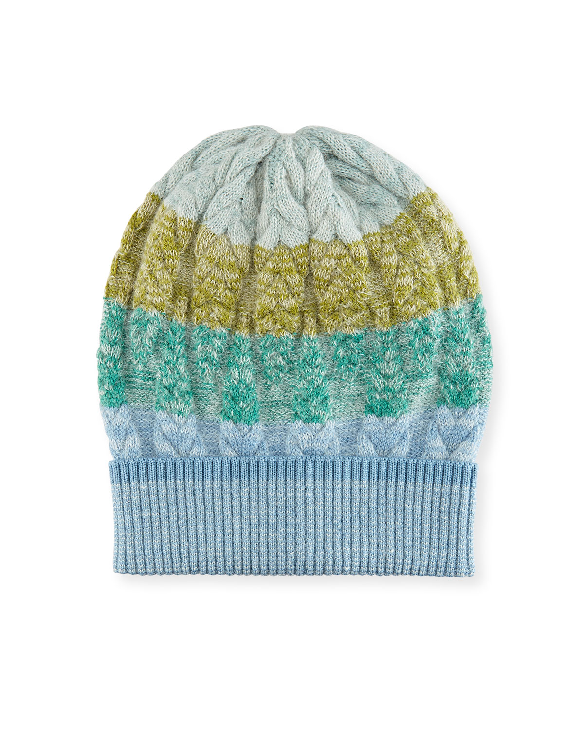 Striped Cable-Knit Beanie Hat