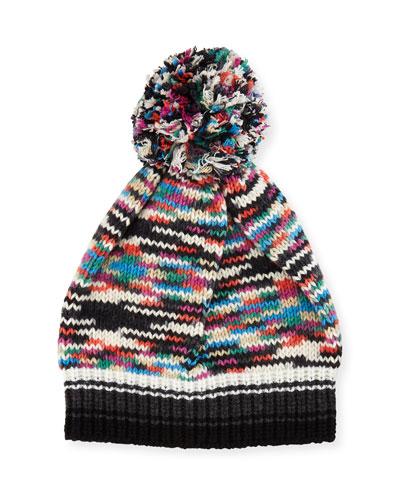 Space-Dye Knit Pompom Beanie Hat