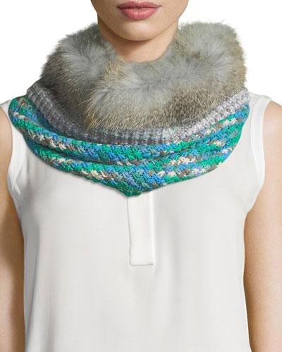 Knit Neck Warmer w/ Fur Trim