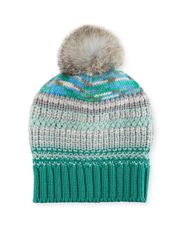 Striped Beanie Hat w/ Fur Pompom