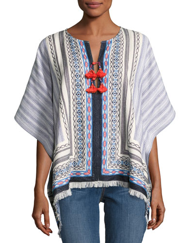 Blaire Embroidered Poncho, Multi