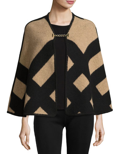 Check Wool-Blend Blanket Poncho, Camel