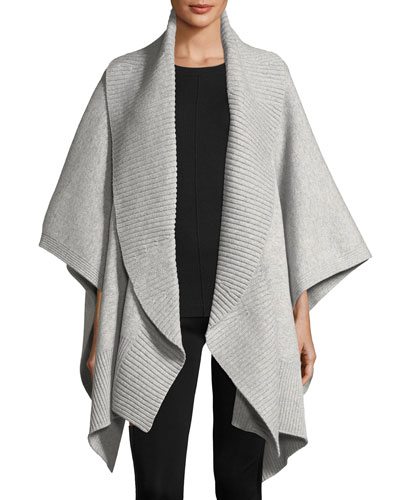 Cashmere-Wool Ribbed Poncho, Medium Gray
