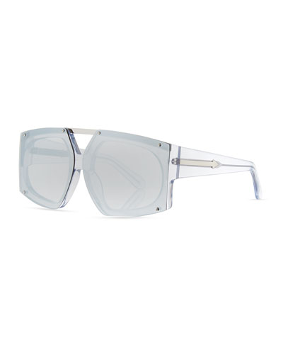 Salvador Oversized Mirrored Wrap Sunglasses, White