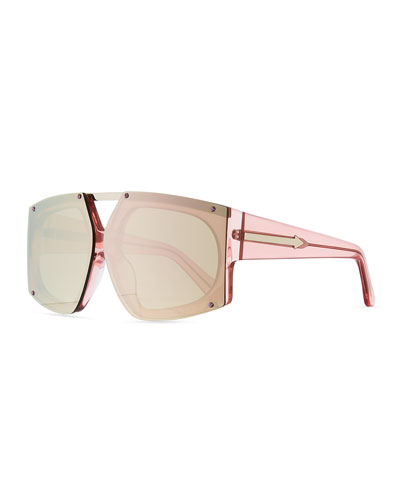 Salvador Oversized Mirrored Wrap Sunglasses, Pink