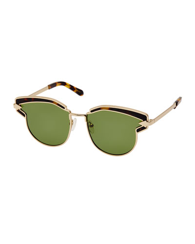 Felipe Metal Sunglasses, Crazy Tortoise/Yellow Gold