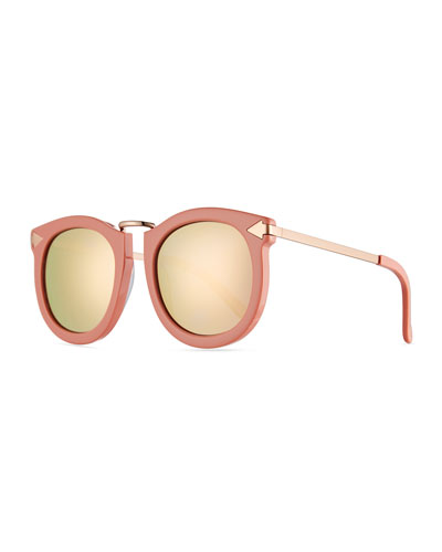 Super Lunar Round Monochromatic Sunglasses, Pink