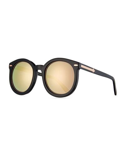 Super Duper Mirrored Sunglasses, Black