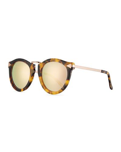 Harvest Round Mirrored Sunglasses, Crazy Tortoise