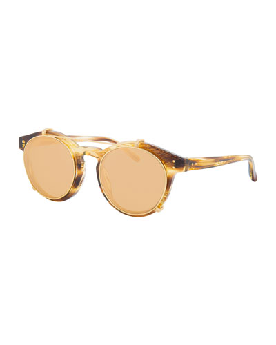 Round Acetate Sunglasses w/ Clip-On Lenses, Gold/Horn