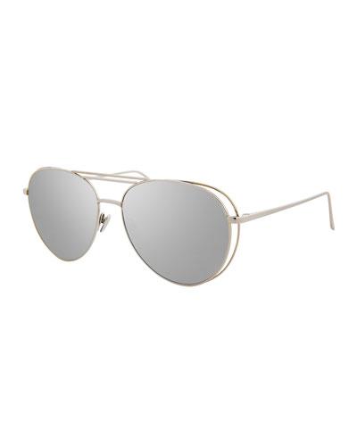 Open-Inset Aviator Sunglasses, White Gold
