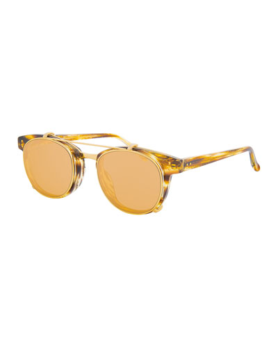Square Acetate Sunglasses w/ Clip-On Lenses, Gold/Tortoise
