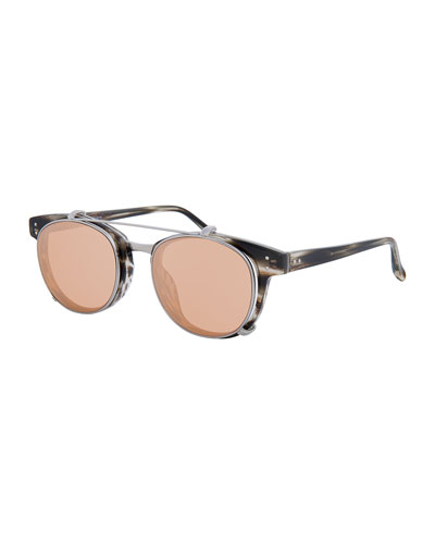Square Acetate Sunglasses w/ Clip-On Lenses, White Gold/Horn