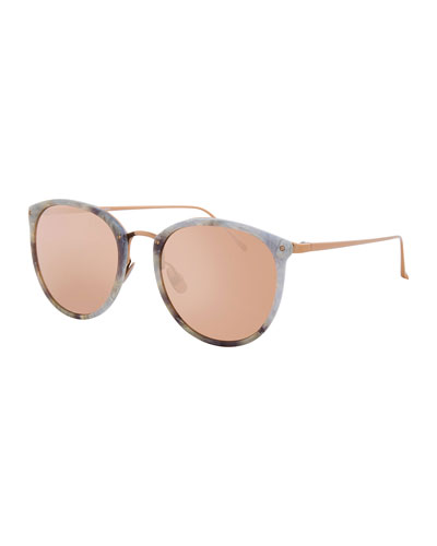 Oversized Mirrored Sunglasses, Rose Gold/White Tortoise