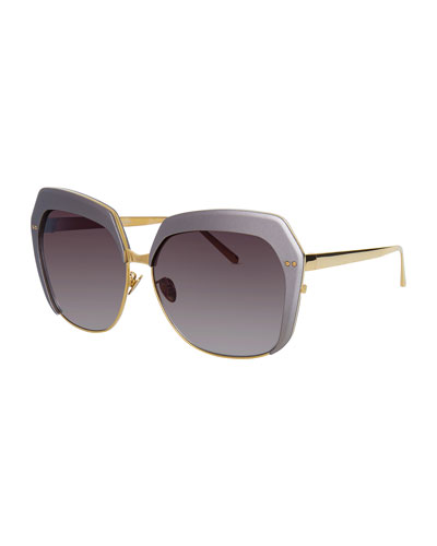 Capped Oversized Butterfly Sunglasses, Gold/Taupe