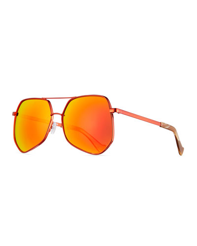 Megalast Geometric Aviator Sunglasses, Brown/Orange