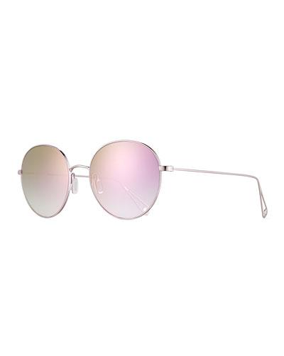 Valencia Round Iridescent Sunglasses, Lilac