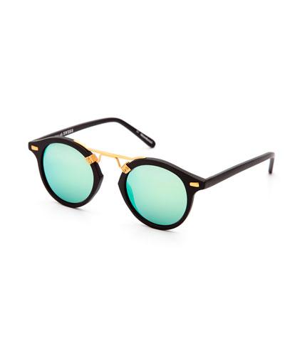 St. Louis Round Mirrored Sunglasses, Black
