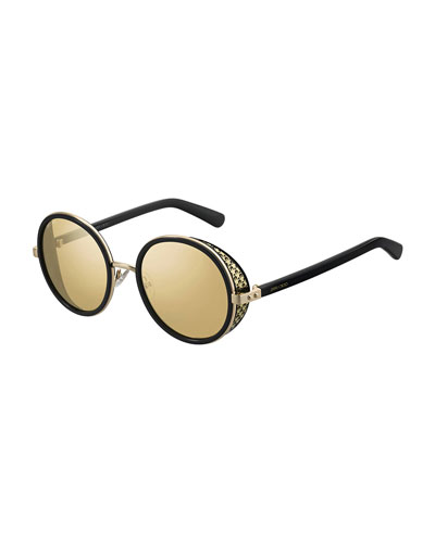 Andien Textured Round Sunglasses