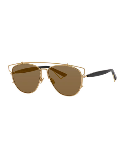 Technologic Cutout Aviator Sunglasses, Golden/Black