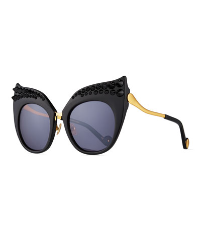 Black Moon Studded Ultra Cat-Eye Sunglasses