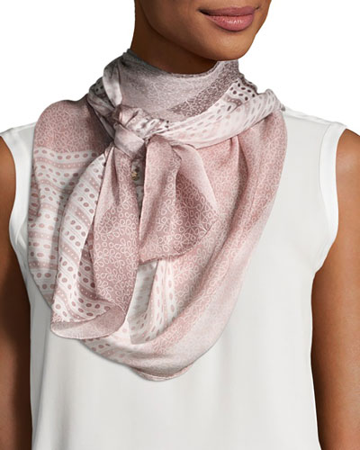Ultra Wash Mega Check Silk Scarf, Rose