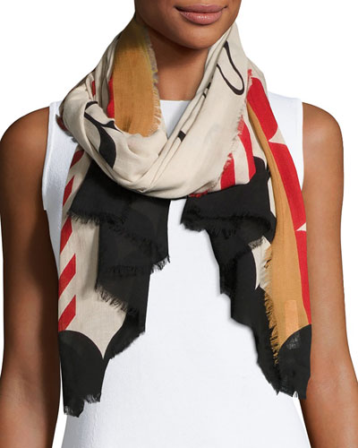 Lightweight Patterned Logo Scarf, Stone