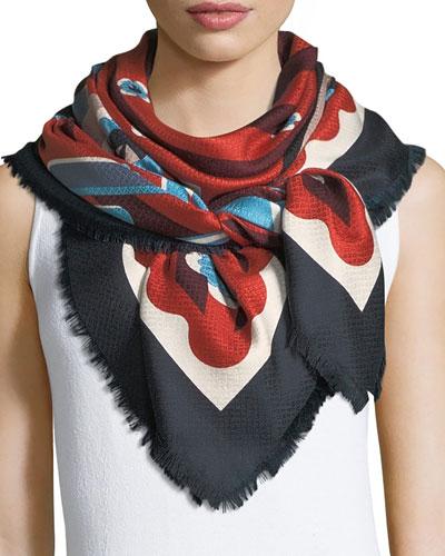 Silk-Wool Shawl w/ Fur Pompoms