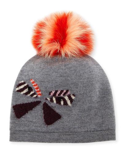 Butterfleye Pompom Knit Wool Beanie