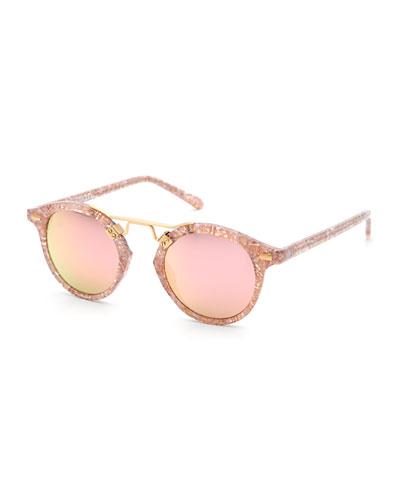 St. Louis Round Mirrored Sunglasses, Pink
