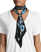 Flora Super Skinny Silk Scarf, Blue/Black