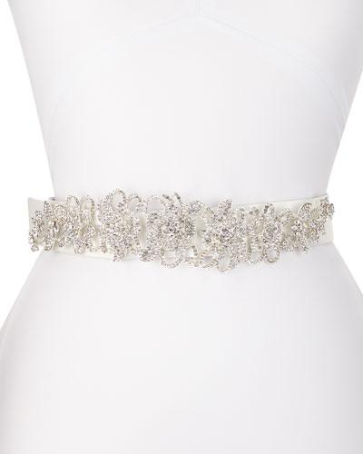 Valentine Long-Jewel Belt, White