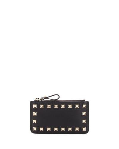 Rockstud Leather Zip Key Case