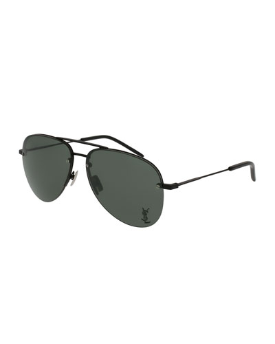 Classic 11 Monochromatic Aviator Sunglasses, Black