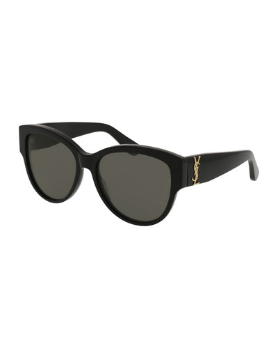 Monochromatic Cat-Eye Sunglasses, Black