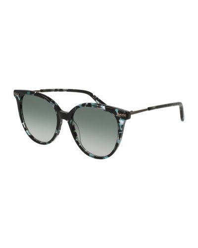 Squared Cat-Eye Sunglasses, Havana Blue